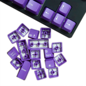 Tai-Hao Double Shot ABS Purple/White Text - Full 104 Keys