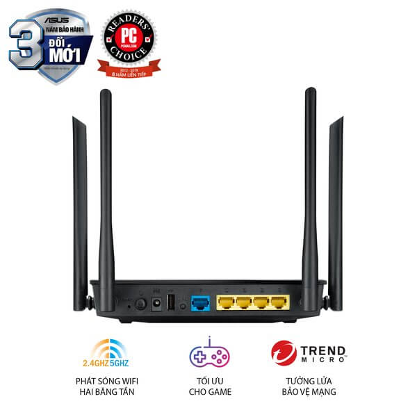 ASUS RT-AC1200 - Chuẩn AC1200, 2 Băng Tần, Parent Control, USB 2.0