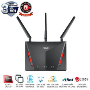 ASUS RT-AC86U (Gaming Router) AC2900 MU-MIMO WTFast, AiMesh 360 WIFI Mesh, 2 Băng Tần, Chipset Broadcom, AiProtection, USB 3.0