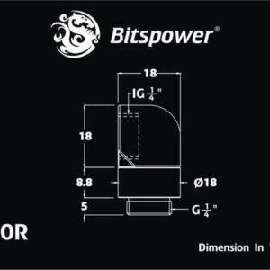Bitspower G1/4'' Deep Blood Red Rotary 90-Degree IG1/4'' Extender