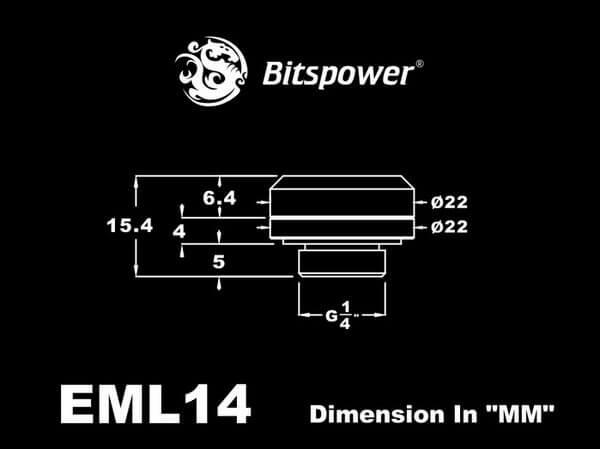Bitspower G1/4'' Matt Black Enhance Multi-Link For OD 14MM