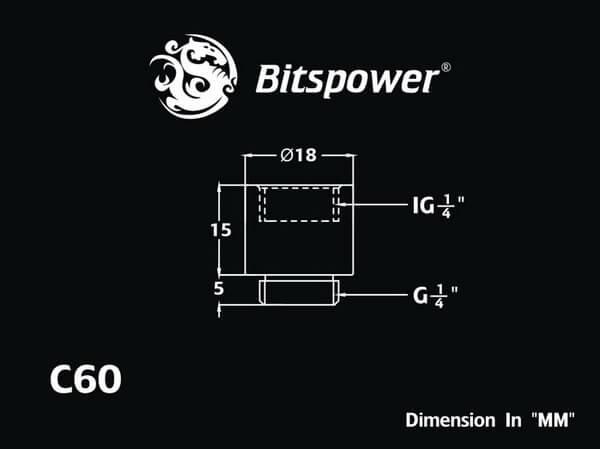 Bitspower G1/4'' Matt Black IG1/4'' Extender-15MM