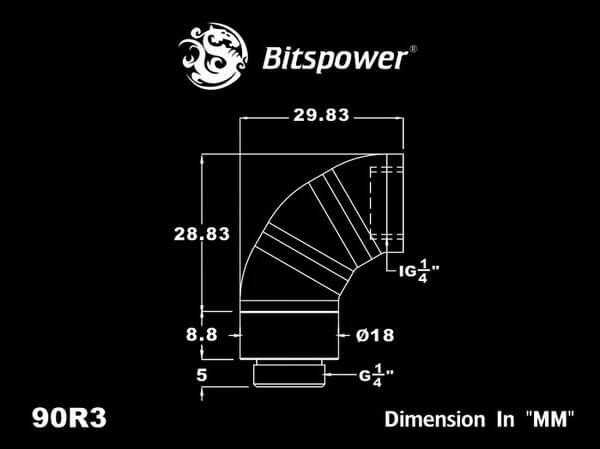 Bitspower G1/4'' Matt Black Triple Rotary 90-Degree IG1/4'' Extender