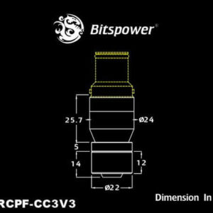 Bitspower Matt Black Quick-Disconnected Male With Rotary Compression Fitting CC3 For ID 3/8'' OD 5/8