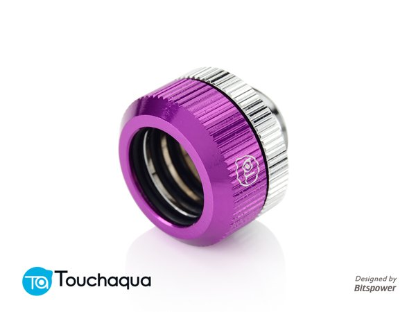 "Touchaqua Dual O-Ring G1/4"" Tighten Fitting For Hard Tubing OD14MM (Purple)"