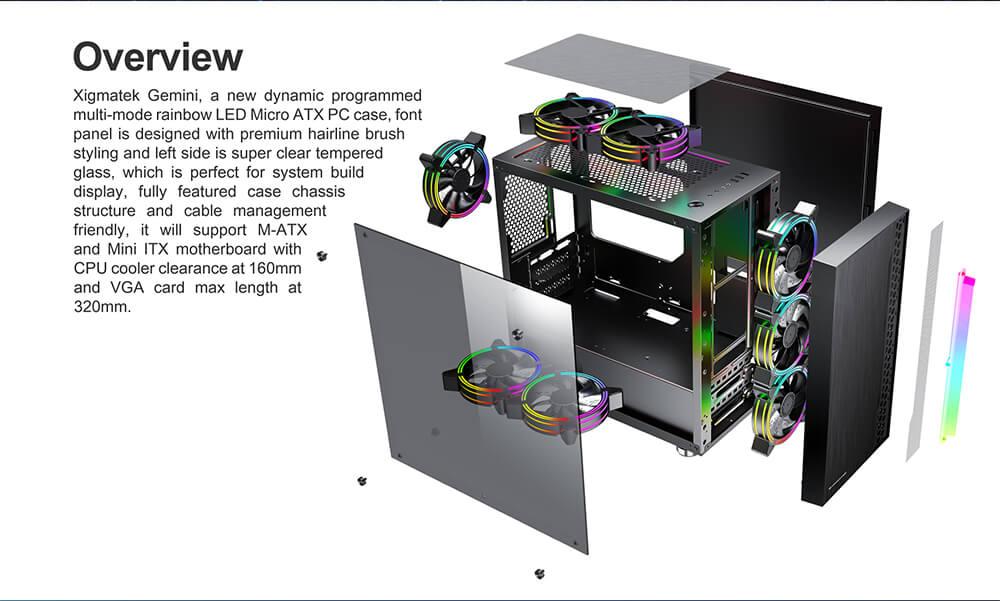 Case Xigmatek Gemini Black Matx 09