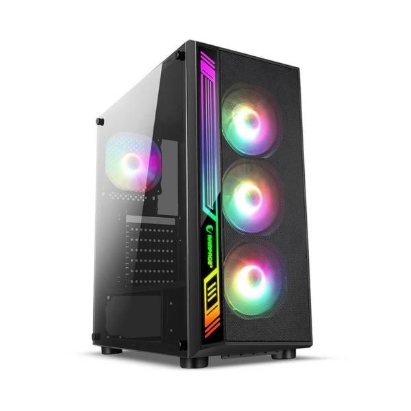 Infinity Sense Led Digital RGB Tempered Glass Case - 3 Fan
