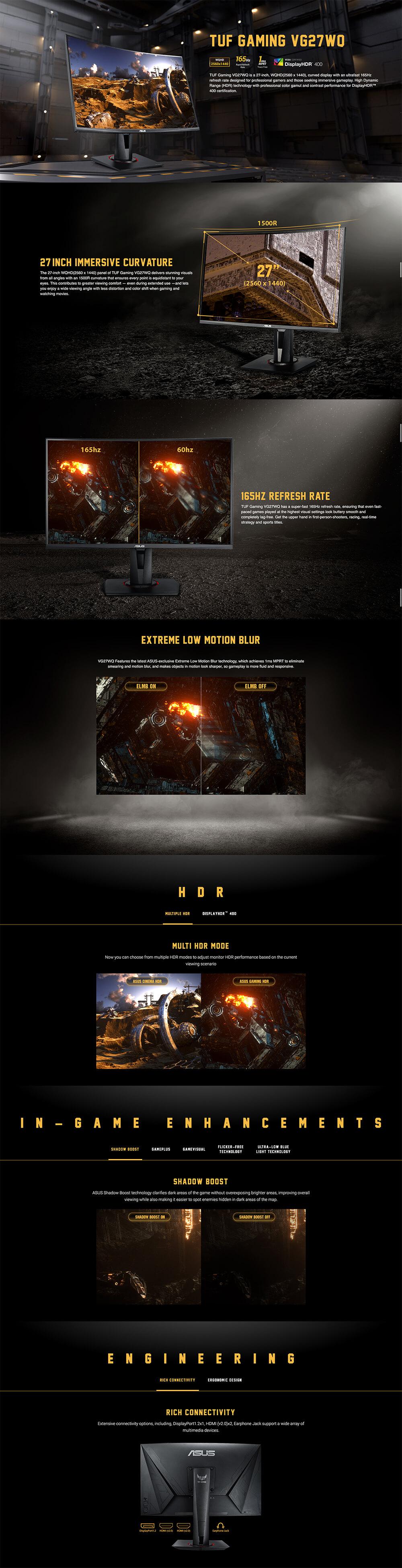 Asus TUF Gaming VG27WQ Curved Monitor – 27 inch - WQHD - 165Hz - 1ms MPRT - HDR 400