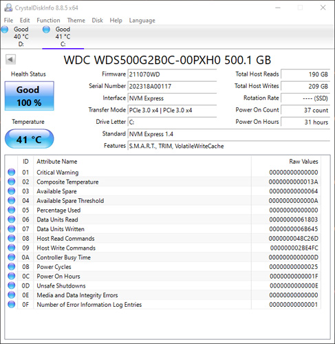 WD Blue SN550 500GB - PCI NVMe SSD