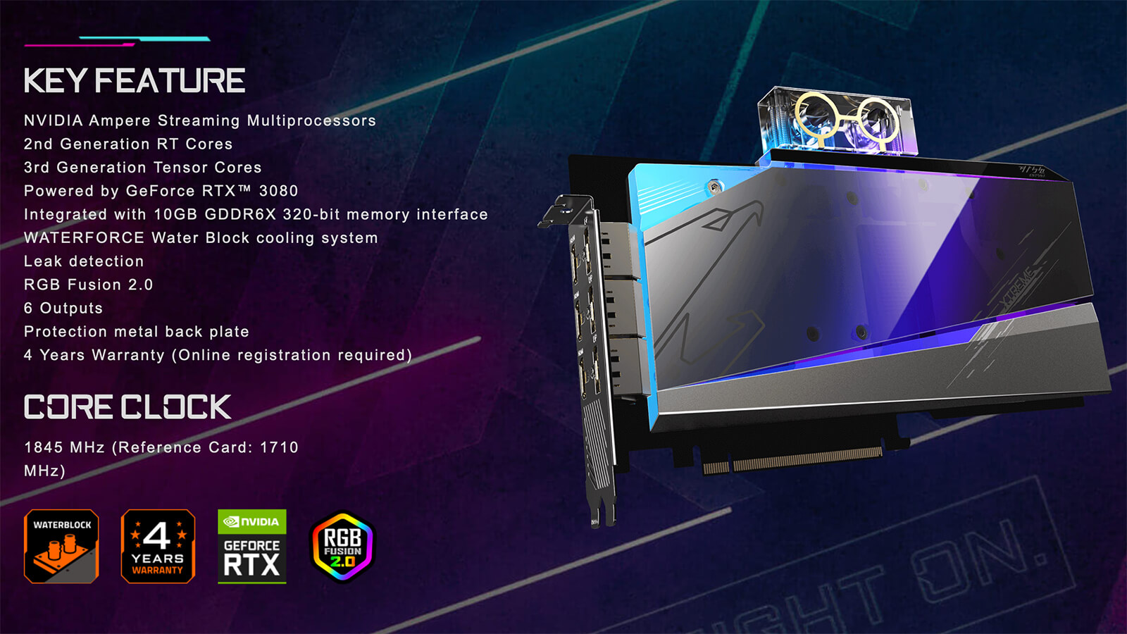 Aorus Geforce® Rtx 3080 Extreme Waterforce Wb 10g Features