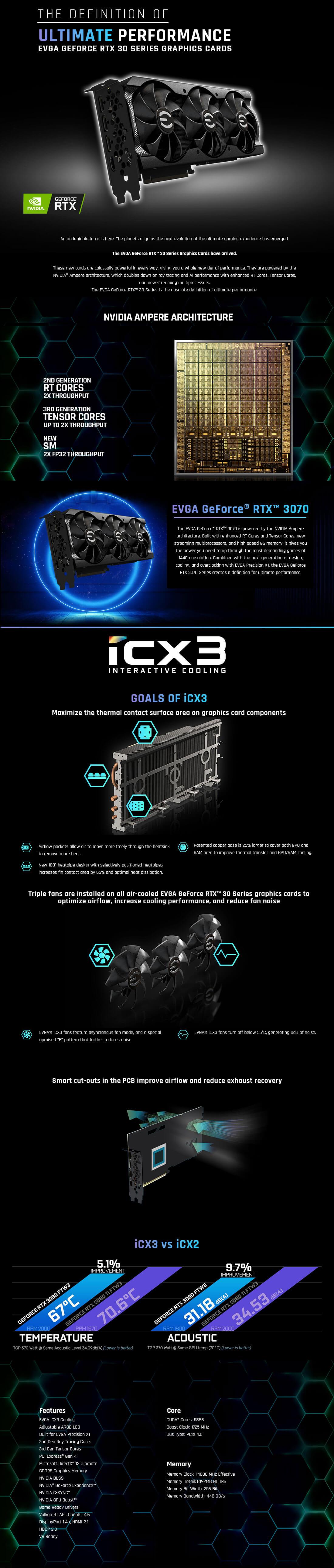 EVGA GeForce RTX™ 3070 XC3 BLACK GAMING - 8GB GDDR6