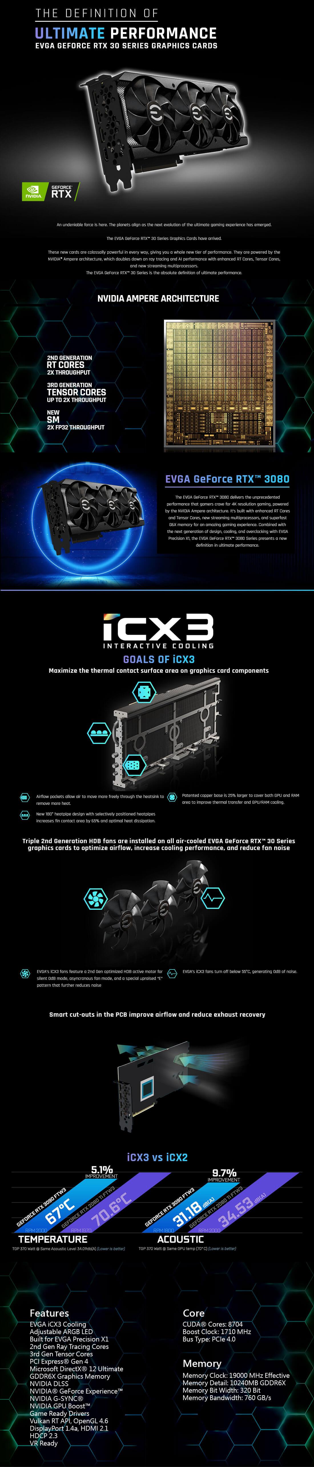EVGA GeForce RTX 3080 XC3 BLACK GAMING - 10GB GDDR6X