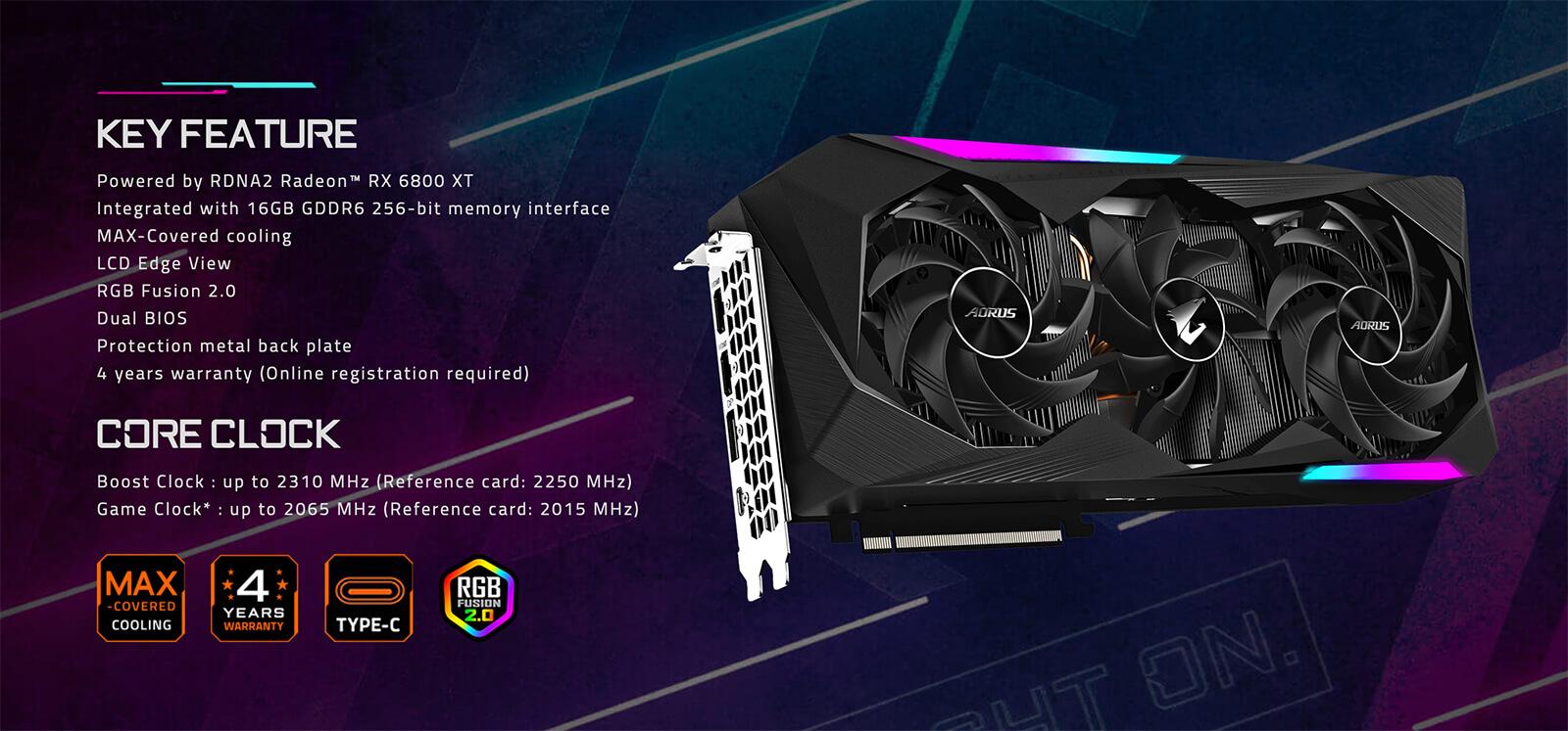 Aorus Radeon™ Rx 6800 Xt Master Type C 16g Features
