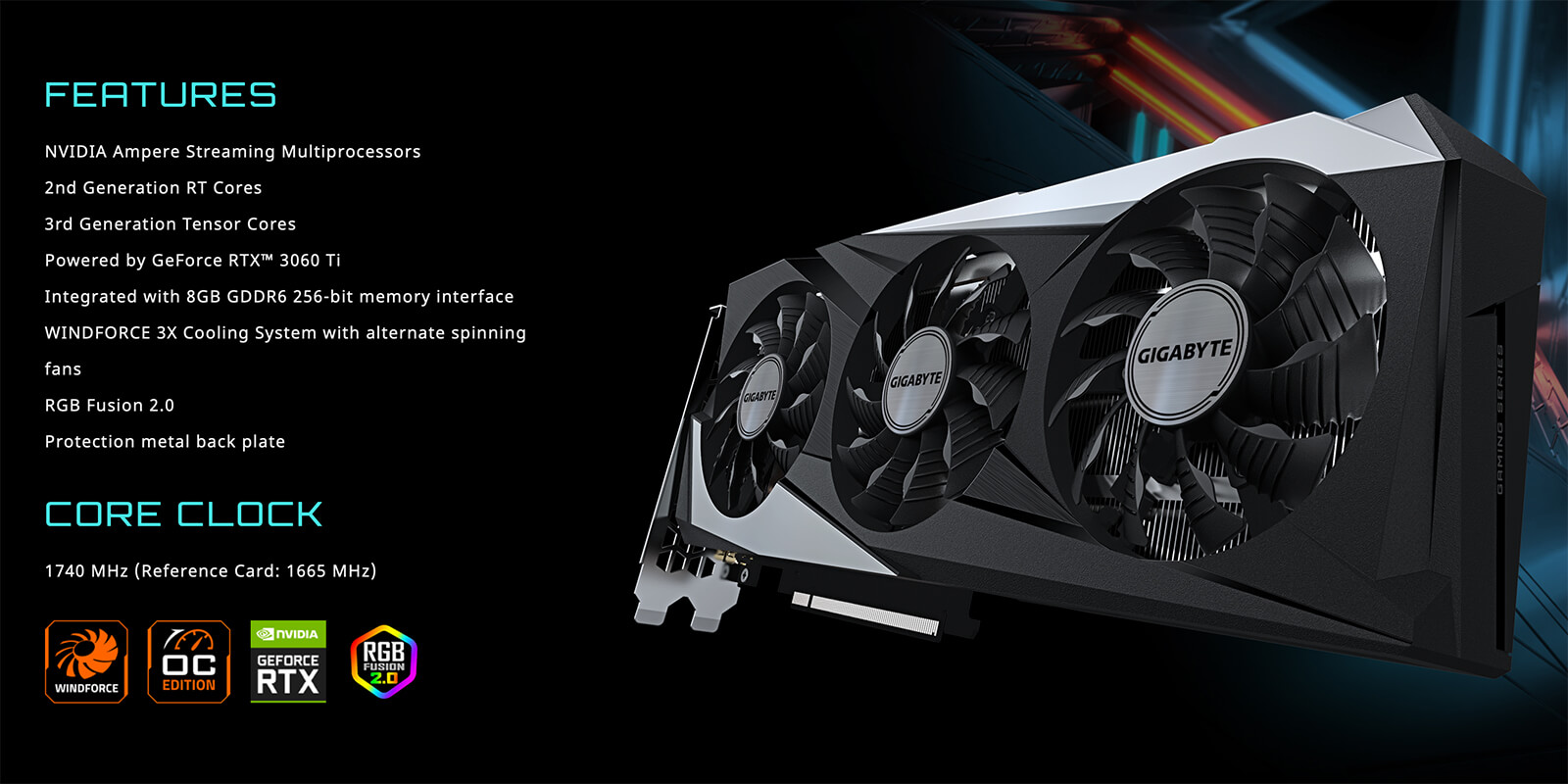 Gigabyte Geforce® Rtx 3060 Ti Gaming Oc 8g Features