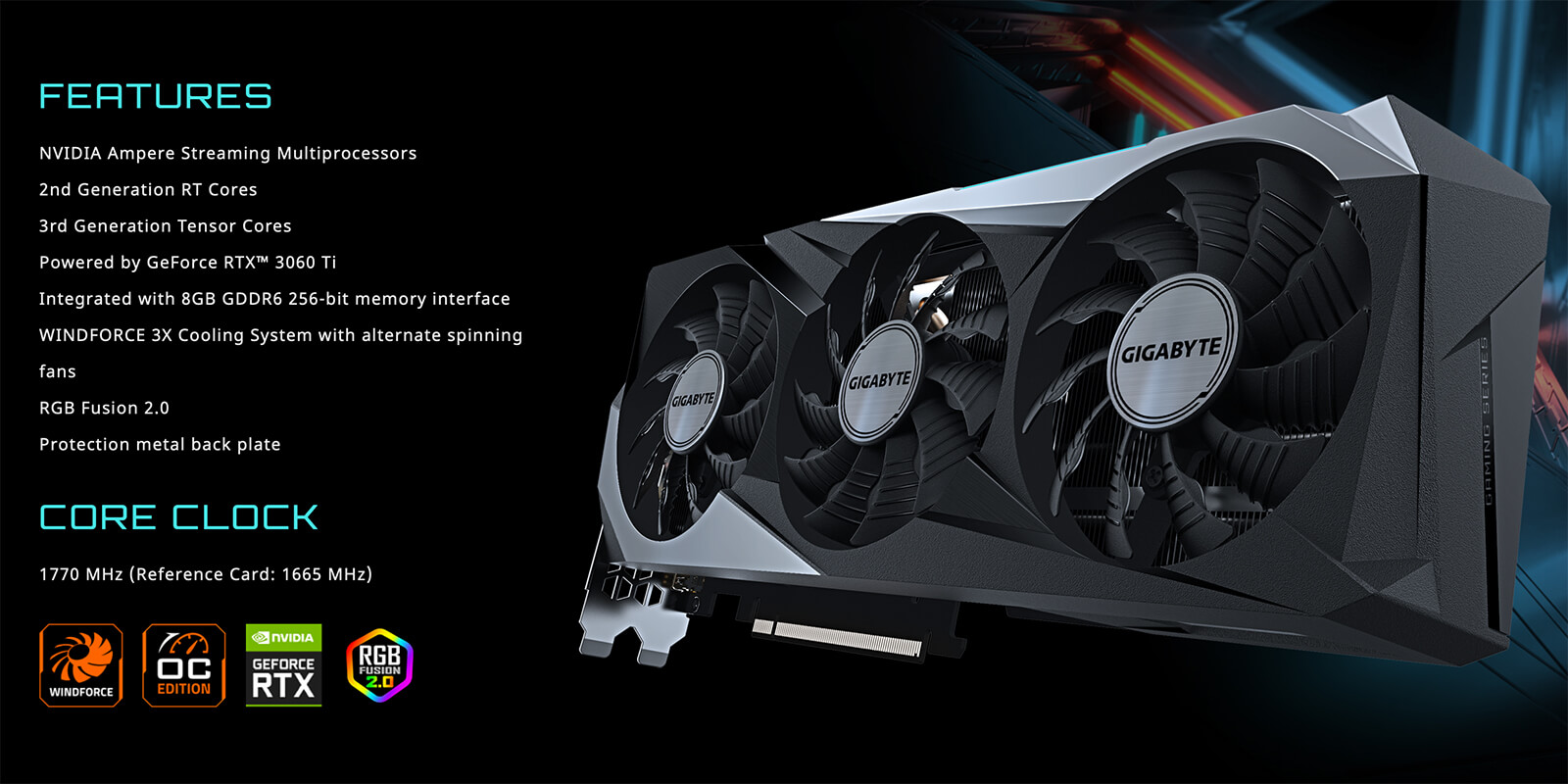 Gigabyte Geforce® Rtx 3060 Ti Gaming Oc Pro 8g Features