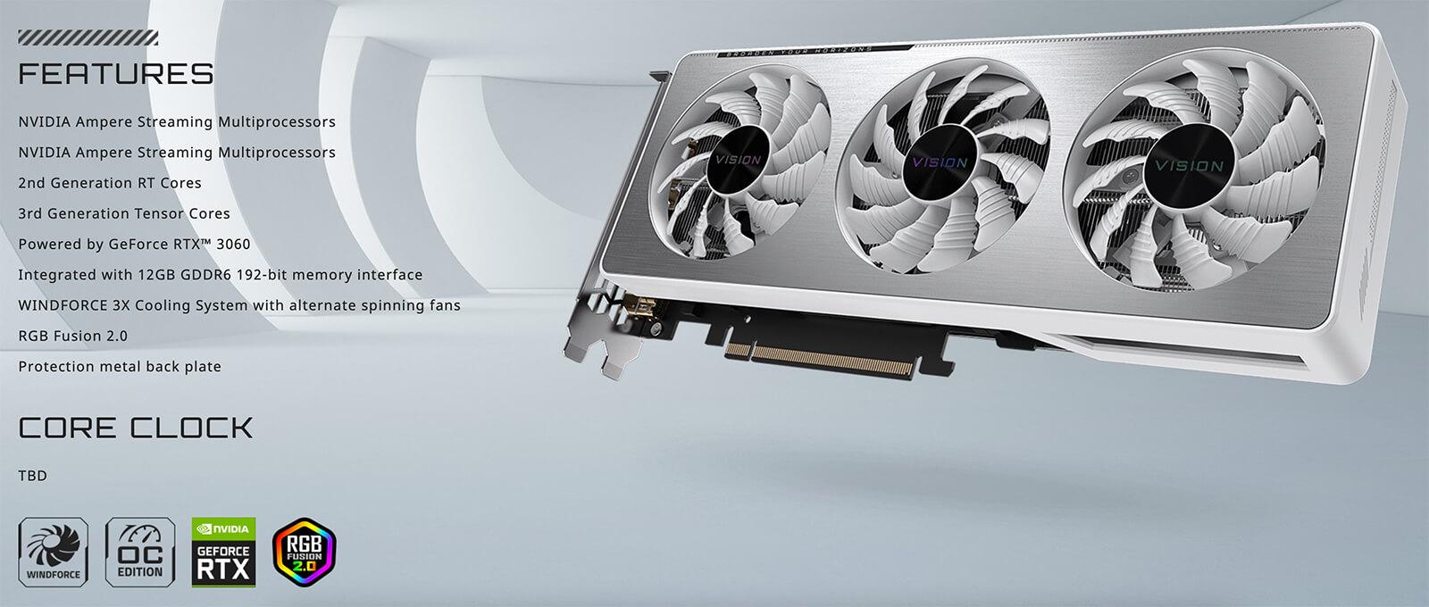 Gigabyte Geforce Rtx™ 3060 Vision Oc 12g Features