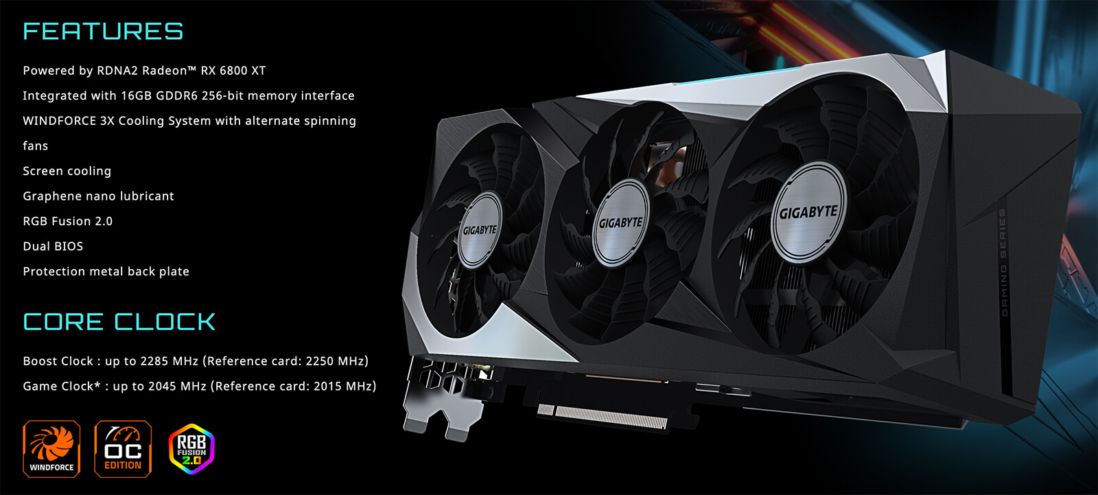 Gigabyte Radeon™ Rx 6800 Xt Gaming Oc 16g Features