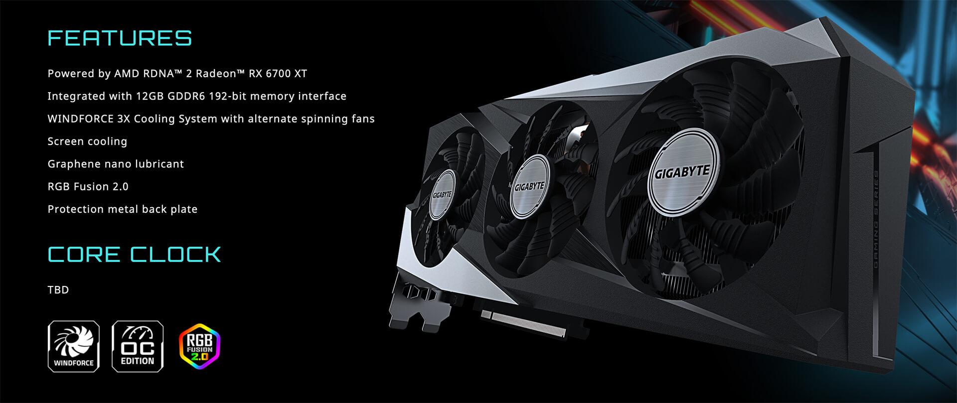 Gigabyte Radeon™ Rx 6700 Xt Gaming Oc 12g 12gb Gddr6