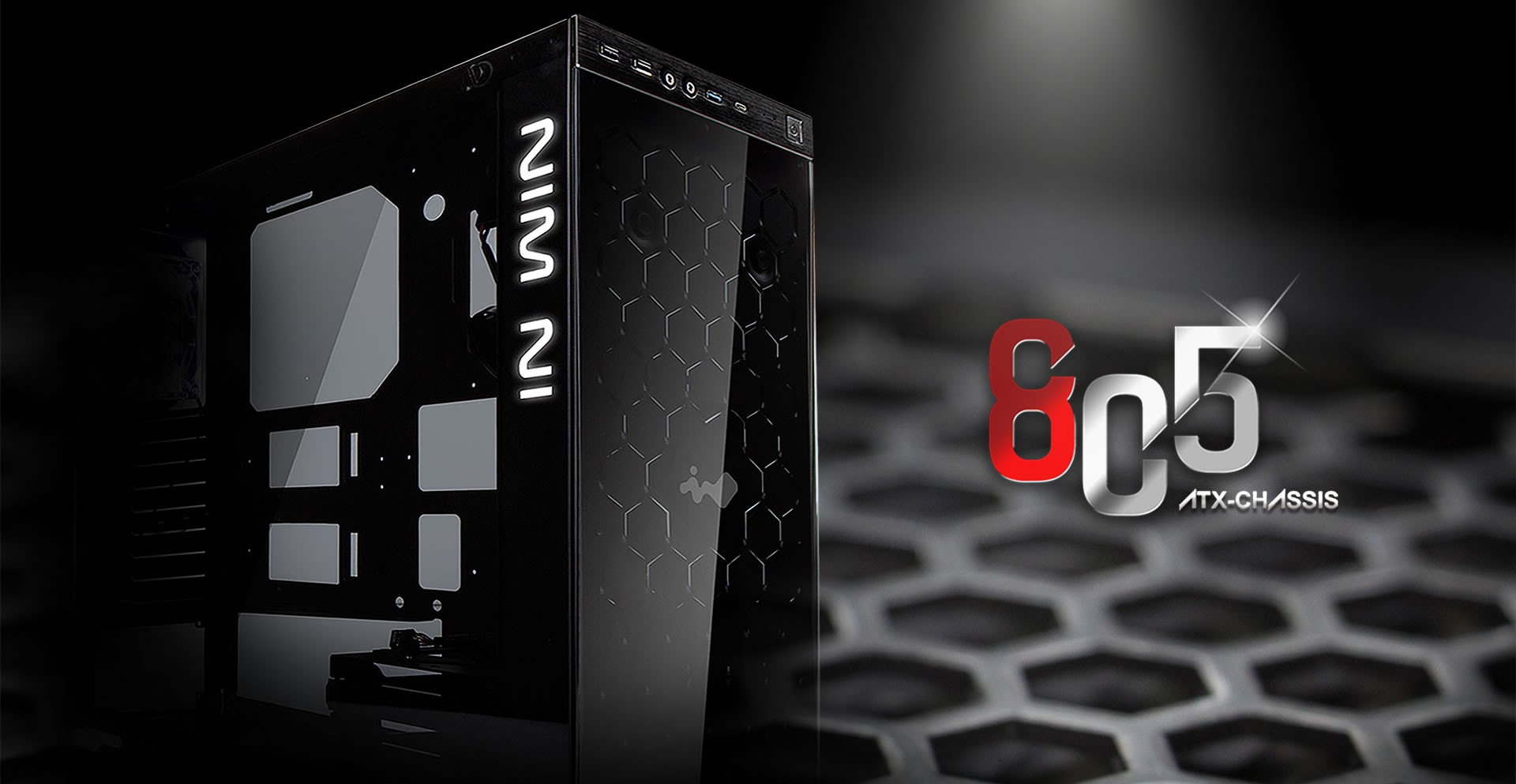In-Win 805 Red/Black Type C - Aluminium & Tempered Glass Mid-Tower Case