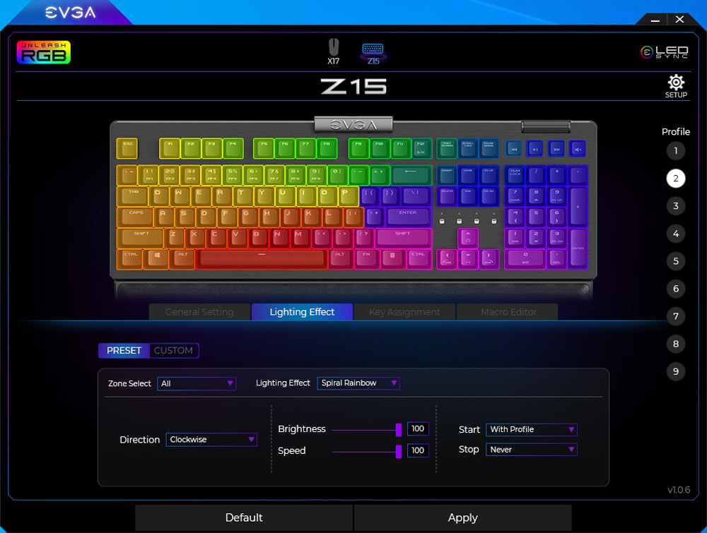 EVGA Z15 - RGB Gaming Keyboard - RGB Backlit LED - Hot Swappable Mechanical Kailh Speed Silver Switches (Linear)