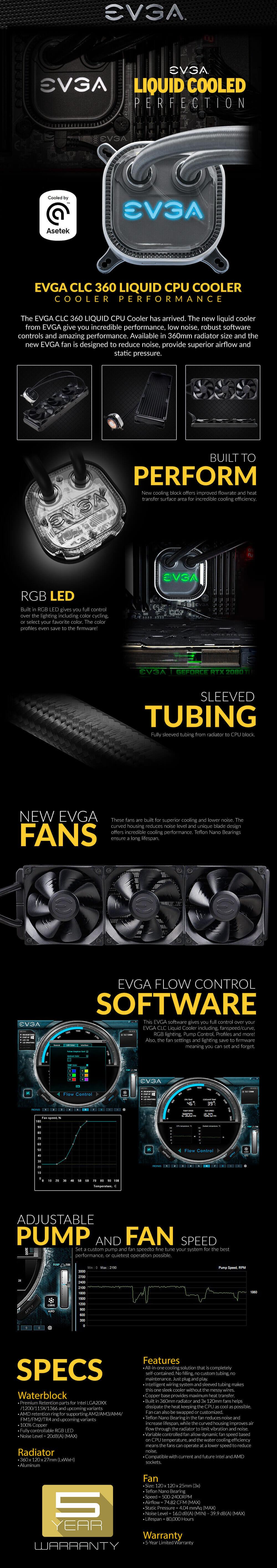 EVGA CLC 360mm All-In-One RGB LED CPU Liquid Cooler - 3x FX12 120mm PWM Fans