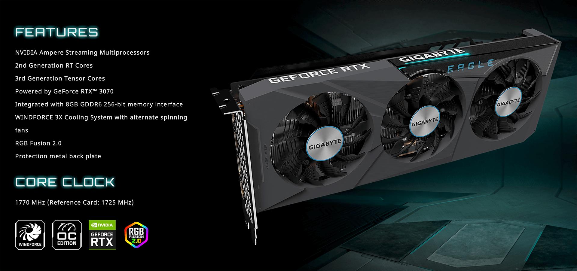 Gigabyte GeForce RTX™ 3070 EAGLE OC 8G - 8GB GDDR6