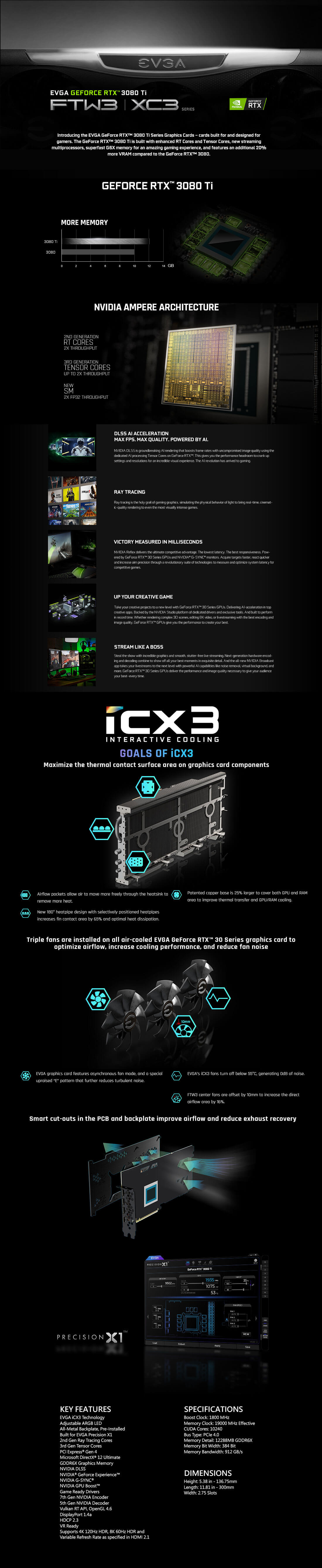 EVGA GeForce RTX™ 3080 Ti FTW3 ULTRA GAMING - 12GB GDDR6X
