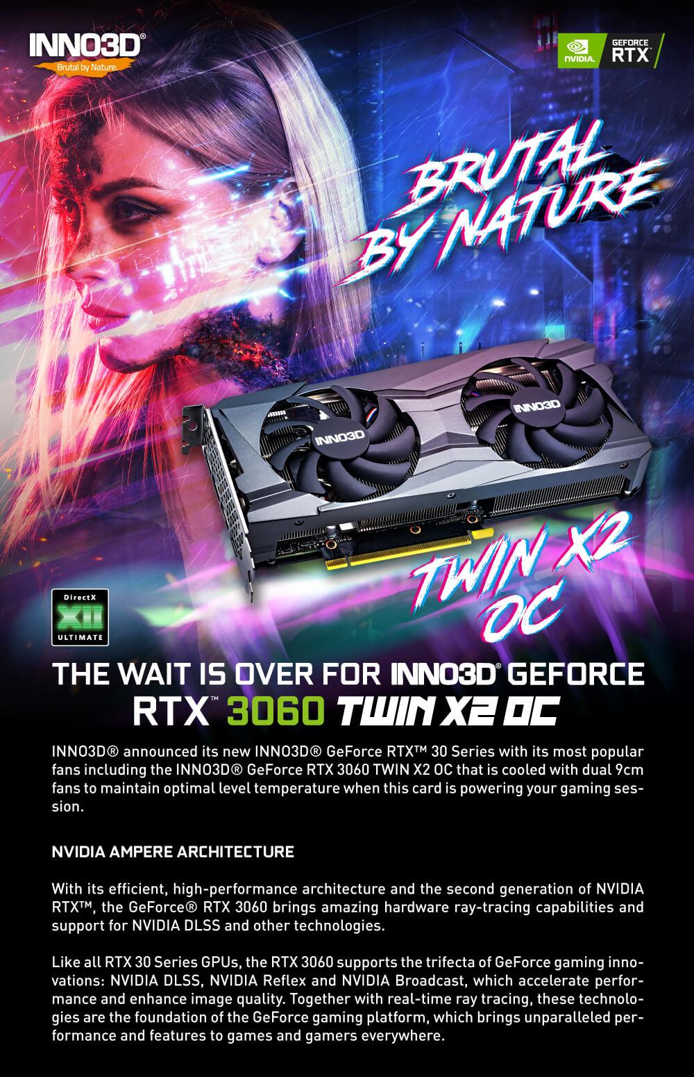 INNO3D GeForce RTX™ 3060 TWIN X2 OC 12GB GDDR6 (LHR)